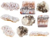 διάφορα αλατισμένα μεταλλεύματα άλατος βράχου halite και θάλασσας Στοκ Εικόνες