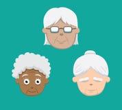 Διάφορο Grandma αντιμετωπίζει τη διανυσματική απεικόνιση Στοκ Εικόνες