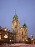 διαγώνιος ιερός εκκλησ& Οδός Swiat Nowy (νέος κόσμος) Βαρσοβία Πολωνία Στοκ Φωτογραφίες