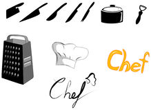 διαθέσιμα ανασκόπησης αρχιμαγείρων εικονίδια καπέλων μαχαιροπήρουνων διαφορετικά μέσα στο διάνυσμα σκιαγραφιών προτύπων Στοκ Εικόνα