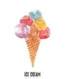 διαθέσιμη απεικόνιση πάγου αρχείων κρέμας AI Συρμένο χέρι watercolor στο άσπρο υπόβαθρο Στοκ Φωτογραφίες