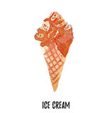 διαθέσιμη απεικόνιση πάγου αρχείων κρέμας AI Συρμένο χέρι watercolor στο άσπρο υπόβαθρο Στοκ Εικόνα
