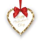 διαθέσιμο διάνυσμα βαλεντίνων αρχείων ημέρας καρτών Η ακτινοβολώντας χρυσή καρδιά με το κόκκινο τόξο, τοποθετεί για το texton ένα διανυσματική απεικόνιση