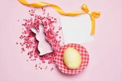 διαθέσιμο διάνυσμα καρτών Πάσχας eps Κουνέλι και ρόδινο ντεκόρ στη ρόδινη θέση υποβάθρου για το κείμενο Στοκ Εικόνες