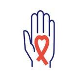 Διαθέσιμο διάνυσμα χεριών κορδελλών ενίσχυσης καρκίνου του μαστού Στοκ φωτογραφία με δικαίωμα ελεύθερης χρήσης
