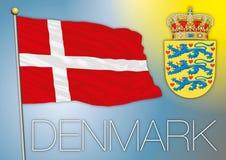 διαθέσιμο διάνυσμα ύφους γυαλιού σημαιών της Δανίας Στοκ Εικόνες