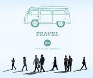 Διακινούμενη περιπέτεια Journey Destination Van Concept ταξιδιού Στοκ φωτογραφία με δικαίωμα ελεύθερης χρήσης