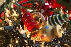διακοπές δώρων Παραμονής Χριστουγέννων πολλές διακοσμήσεις Στοκ Εικόνα