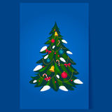 Διακοσμημένο χριστουγεννιάτικο δέντρο, διάνυσμα Στοκ φωτογραφία με δικαίωμα ελεύθερης χρήσης