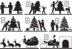 διακοσμημένο Χριστούγεννα δέντρο εικονιδίων γουνών Στοκ Φωτογραφίες