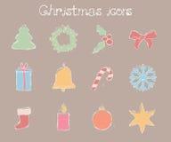 διακοσμημένο Χριστούγεννα δέντρο εικονιδίων γουνών ελεύθερη απεικόνιση δικαιώματος