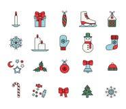 διακοσμημένο Χριστούγεννα δέντρο εικονιδίων γουνών απεικόνιση αποθεμάτων