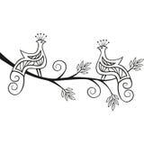 2 διακοσμητικά πουλιά παραδείσου σε ένα δέντρο Στοκ εικόνα με δικαίωμα ελεύθερης χρήσης