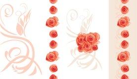 Διακοσμητικά στοιχεία με τα ανθίζοντας τριαντάφυλλα για το σχέδιο γεγονότος Στοκ Εικόνες
