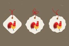 διακοσμητικός κόκκορας Κινεζικό νέο σύμβολο έτους του νέου έτους του 2017 rSet των ετικεττών Αγαθό για τη ευχετήρια κάρτα, την πρ Στοκ εικόνα με δικαίωμα ελεύθερης χρήσης