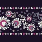 διακοσμητικός floral άνευ ραφή σύνορα άνευ ραφής ζωηρόχρωμο ύφασμα κεντητικής Αναδρομικό μοτίβο Στοκ Φωτογραφίες