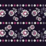 διακοσμητικός floral άνευ ραφή σύνορα άνευ ραφής ζωηρόχρωμο ύφασμα κεντητικής Αναδρομικό μοτίβο Στοκ Φωτογραφία
