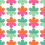 διακοσμητικός floral άνευ ραφή Σύσταση κακογραφίας Αναδρομικό μοτίβο Στοκ Φωτογραφία