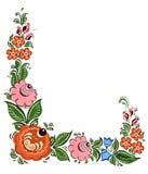 Διακοσμητικό πλαίσιο με τα λουλούδια και στο ρωσικό παραδοσιακό ύφος Στοκ Εικόνα
