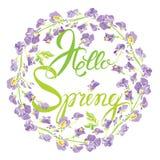 Διακοσμητικό handdrawn floral στρογγυλό πλαίσιο με τα γλυκά λουλούδια μπιζελιών, Στοκ φωτογραφία με δικαίωμα ελεύθερης χρήσης