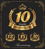10 διακοσμητικών έτη λογότυπων επετείου Στοκ Εικόνες