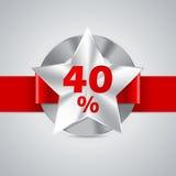 διακριτικό έκπτωσης 40% με την κόκκινη κορδέλλα Στοκ φωτογραφία με δικαίωμα ελεύθερης χρήσης
