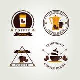 Διακριτικό καφέ, ετικέτα, επιλογές εικονιδίων Στοκ Εικόνες