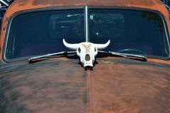Διακόσμηση κρανίων αγελάδων στην κουκούλα της κλασικής ράβδου αρουραίων Στοκ Φωτογραφία