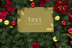 διακόσμηση Χριστουγέννων, ευχετήρια κάρτα Χριστουγέννων, πίνακας μηνυμάτων Χριστουγέννων, υπόβαθρο Χριστουγέννων, Στοκ Φωτογραφίες