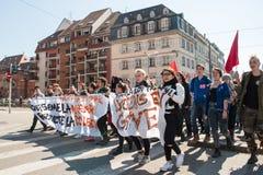 Διαμαρτυρία Απριλίου ενάντια στις μεταρρυθμίσεις εργασίας στη Γαλλία Στοκ φωτογραφίες με δικαίωμα ελεύθερης χρήσης