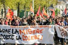 Διαμαρτυρία Απριλίου ενάντια στις μεταρρυθμίσεις εργασίας στη Γαλλία Στοκ Εικόνα