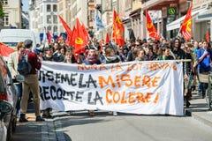 Διαμαρτυρία Απριλίου ενάντια στις μεταρρυθμίσεις εργασίας στη Γαλλία Στοκ Φωτογραφία