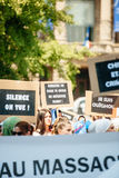 Διαμαρτυρία ενεργών στελεχών των ανθρώπινων δικαιωμάτων Uyghur Στοκ Εικόνες
