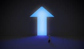Διαμορφωμένη βέλος πόρτα με το μπλε φως Στοκ Φωτογραφίες