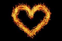 διαμορφωμένη καρδιά καίγοντας πυρκαγιά που απομονώνεται στο Μαύρο Στοκ Εικόνες
