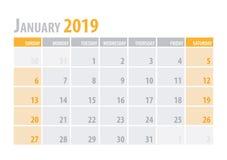 Ιανουάριος Ημερολογιακός αρμόδιος για το σχεδιασμό 2019 στο καθαρό ελάχιστο επιτραπέζιο απλό ύφος επίσης corel σύρετε το διάνυσμα διανυσματική απεικόνιση