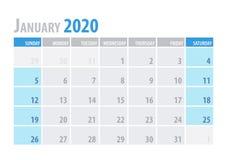Ιανουάριος Ημερολογιακός αρμόδιος για το σχεδιασμό 2020 στο καθαρό ελάχιστο επιτραπέζιο απλό ύφος επίσης corel σύρετε το διάνυσμα ελεύθερη απεικόνιση δικαιώματος