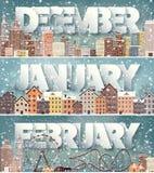 Ιανουάριος μήνας Δεκεμβρίου Φεβρουάριος, χειμερινή εικονική παράσταση πόλης Σκιαγραφίες πόλεων Πόλης ορίζοντας Της περιφέρειας το διανυσματική απεικόνιση