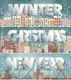 Ιανουάριος μήνας Δεκεμβρίου Φεβρουάριος, χειμερινή εικονική παράσταση πόλης Σκιαγραφίες πόλεων Πόλης ορίζοντας Της περιφέρειας το απεικόνιση αποθεμάτων
