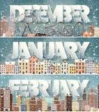 Ιανουάριος μήνας Δεκεμβρίου Φεβρουάριος, χειμερινή εικονική παράσταση πόλης Σκιαγραφίες πόλεων Πόλης ορίζοντας Της περιφέρειας το ελεύθερη απεικόνιση δικαιώματος