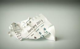 Ιανουάριος. Τσαλακωμένο ημερολογιακό φύλλο Στοκ Φωτογραφίες