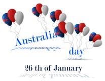 26 Ιανουαρίου εικονίδια δώρων σημαιών ημέρας μπαλονιών της Αυστραλίας που τίθενται Στοκ Εικόνα