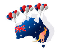 26 Ιανουαρίου εικονίδια δώρων σημαιών ημέρας μπαλονιών της Αυστραλίας που τίθενται Στοκ Εικόνες