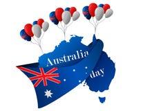 26 Ιανουαρίου εικονίδια δώρων σημαιών ημέρας μπαλονιών της Αυστραλίας που τίθενται Στοκ φωτογραφία με δικαίωμα ελεύθερης χρήσης