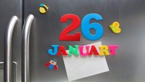 26 Ιανουαρίου ημερολογιακή ημερομηνία που γίνεται με τις πλαστικές μαγνητικές επιστολές Στοκ Φωτογραφίες