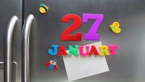 27 Ιανουαρίου ημερολογιακή ημερομηνία που γίνεται με τις πλαστικές μαγνητικές επιστολές Στοκ φωτογραφία με δικαίωμα ελεύθερης χρήσης