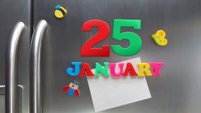 25 Ιανουαρίου ημερολογιακή ημερομηνία που γίνεται με τις πλαστικές μαγνητικές επιστολές Στοκ εικόνα με δικαίωμα ελεύθερης χρήσης