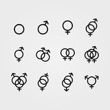 Διανυσματικά αρσενικά και θηλυκά εικονίδια σεξουαλικού προσανατολισμού Στοκ φωτογραφία με δικαίωμα ελεύθερης χρήσης