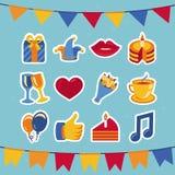 Διανυσματικά γενέθλια και εικονίδια και σημάδια κομμάτων Στοκ εικόνες με δικαίωμα ελεύθερης χρήσης