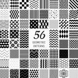 56 διανυσματικά γεωμετρικά άνευ ραφής σχέδια Στοκ Φωτογραφία